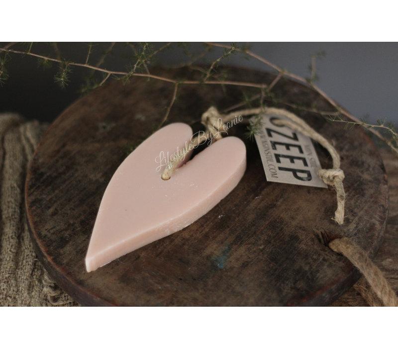 Mijn Stijl zeephanger hart pastel pink - maat XL