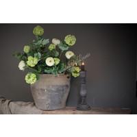 Zijden grote Hortensia Snowball tak green 114 cm
