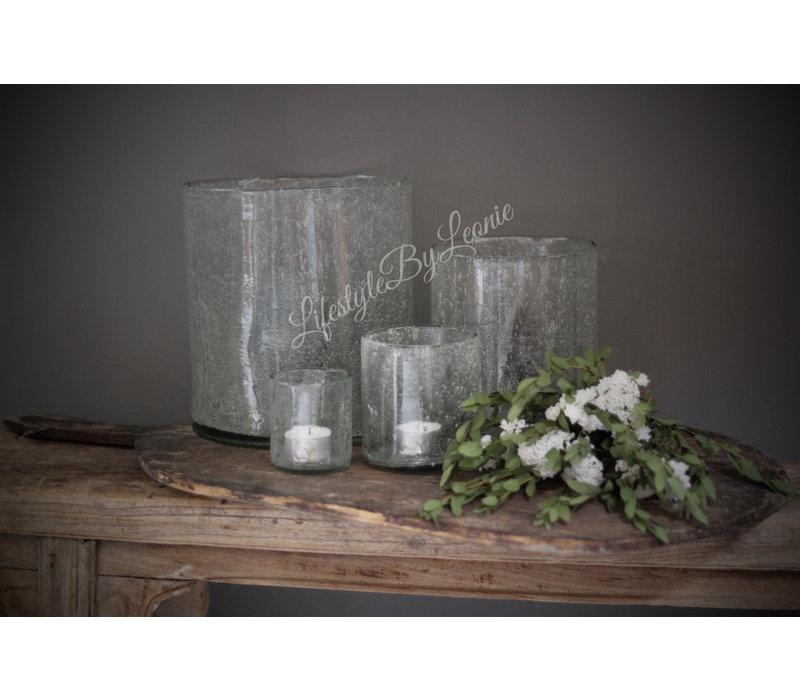 Brynxz glazen windlicht steenslag helder 8 cm