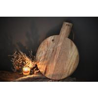 Rond houten tapasplankje met leertje 26 cm