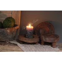 Ronde platte houten poer kandelaar 15 cm