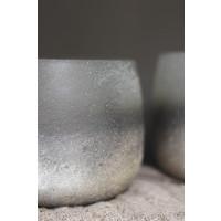 Rond glazen windlicht Sandro-Sand 15 cm