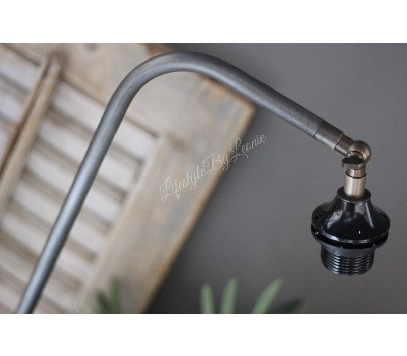 Tafellamp gebogen hardstenen voet grijs 65 cm