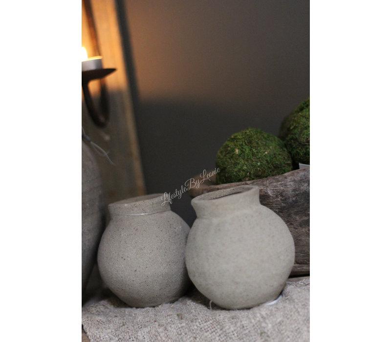 Stenen rond vaasje Zand/grijs 10 cm