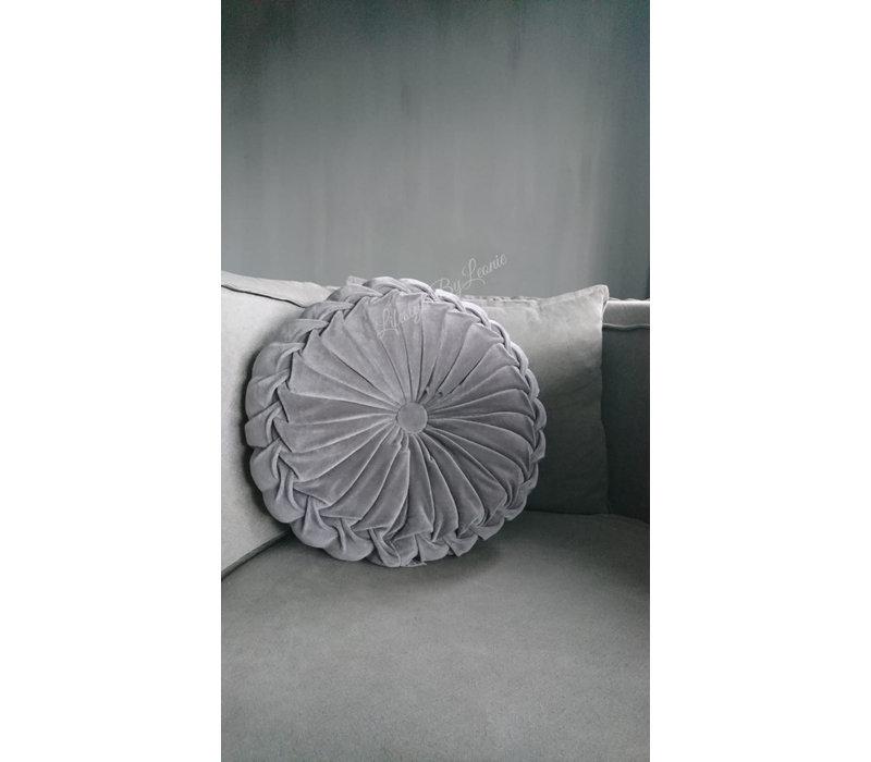 Rond velvet kussen Light grey 40 cm