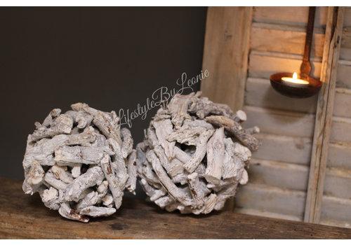 Decobal sprokkelhout 'White'|15cm
