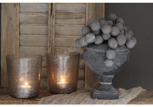Glazen windlicht conic Old grey|13cm