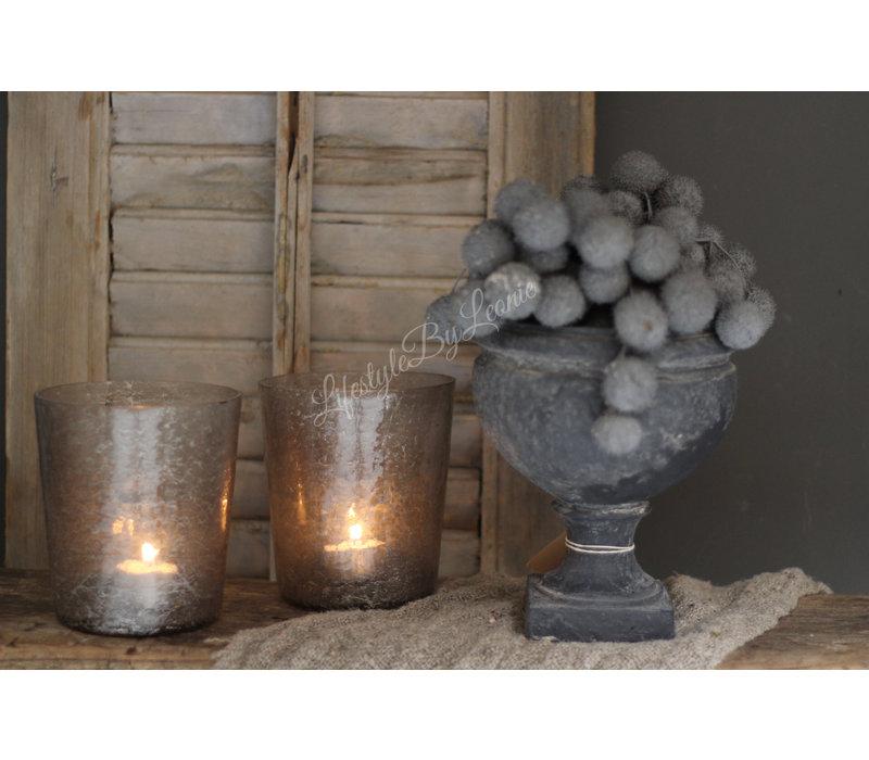 Glazen windlicht conic Old grey 13 cm
