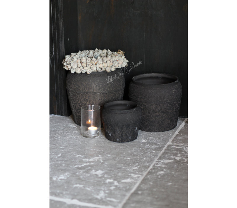 Ronde kruik Toscane zwart 16 cm