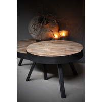 Coffee table round hout / metaal - Ø 58 cm - H 40 cm