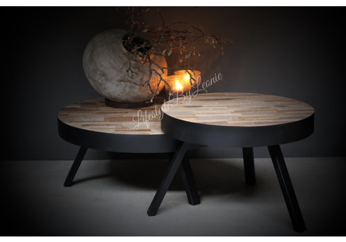 Coffee table round hout / metaal - Ø 74 cm - H 31 cm