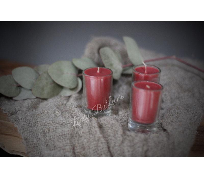 Set kaarsjes in glas Nude pink