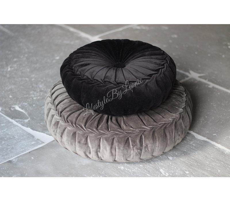 Rond velvet kussen Black 40 cm