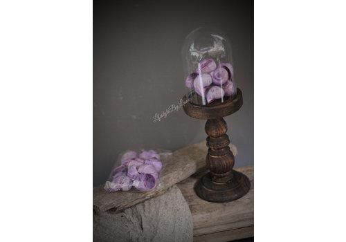 Zakje pastel paarse schelpen