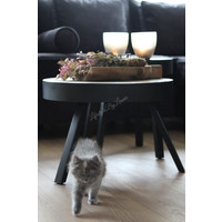Coffee table round hout / metaal - Ø 40 cm - H 49 cm