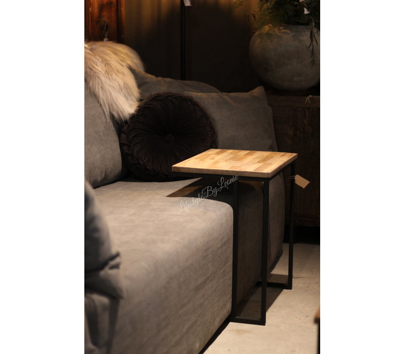 Banktafeltje hout metaal 55 cm