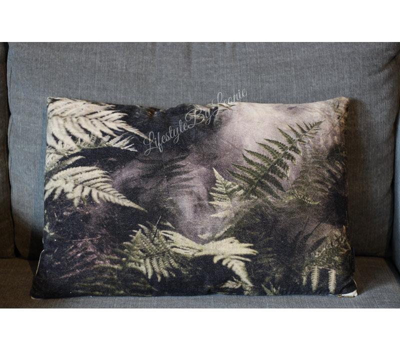 Velvet kussen Sobere bladeren 60 cm