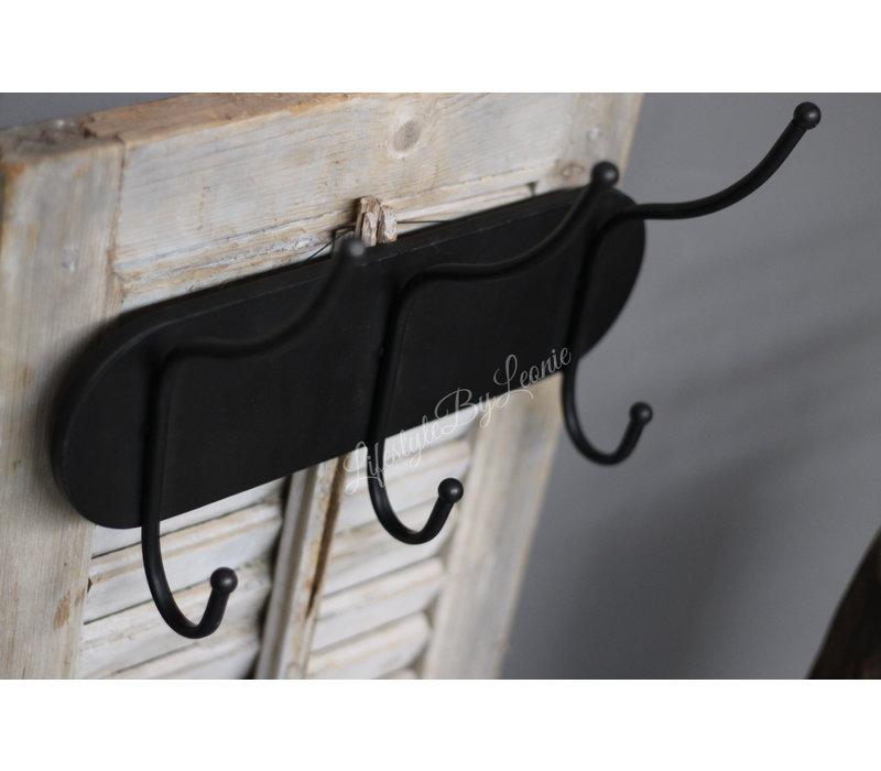 Zinken kapstok Dark met 3 haken 36 cm
