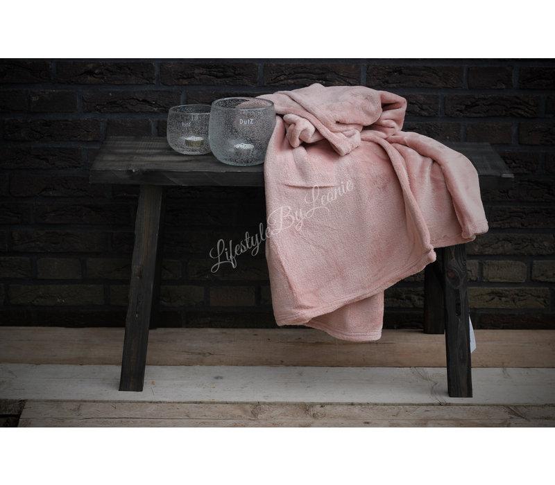 Fleece plaid Old pink 180 cm
