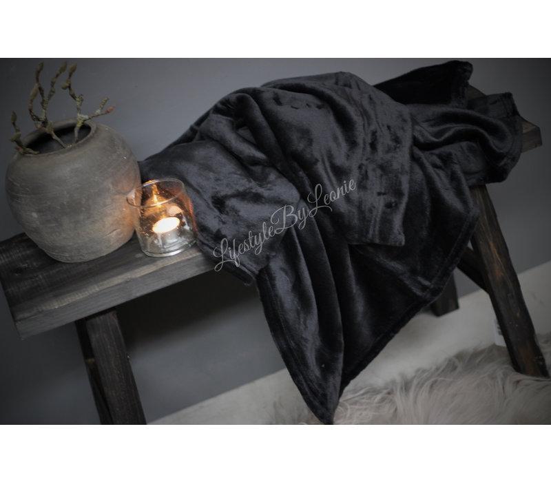 Fleece plaid Black 180 cm