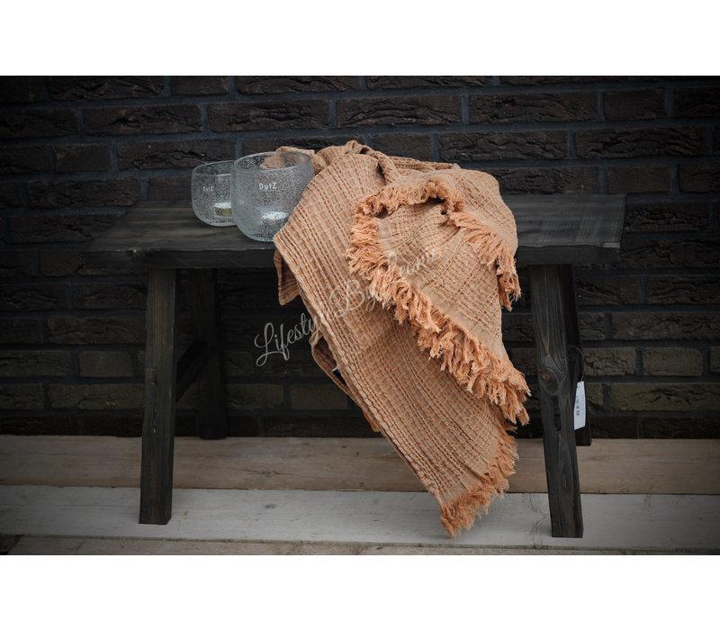 Wafel plaid Stonewashed camel 150 cm