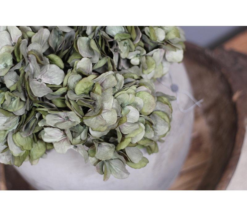 Zijden Hortensia tak Sober green
