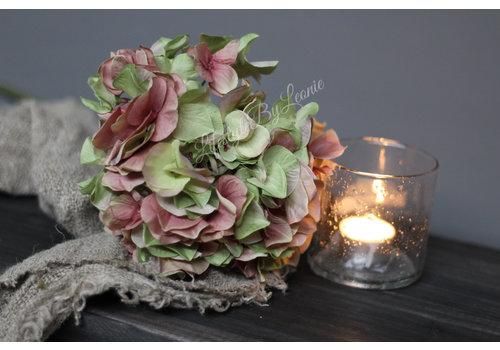 Zijden Hortensia tak Green/pink