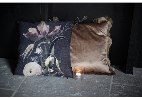 Velvet kussen franje Taupe 45 cm