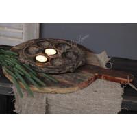 Oud houten ronde tapasplank 45 cm
