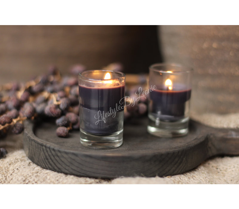 Set kaarsjes in glas Black