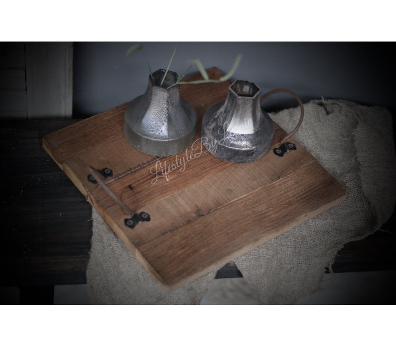 Sober mat zwart / zilveren vaasje 12 cm