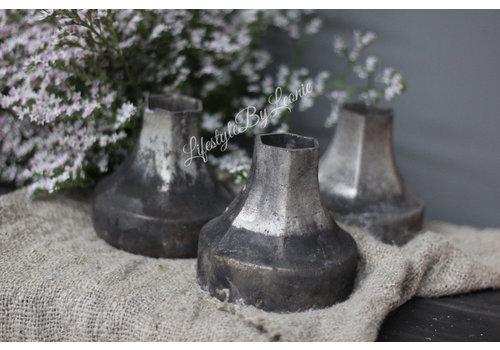 Sober mat zwart / zilveren vaasje|12cm
