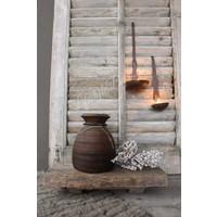 Oud vierkant houten bajot tafeltje