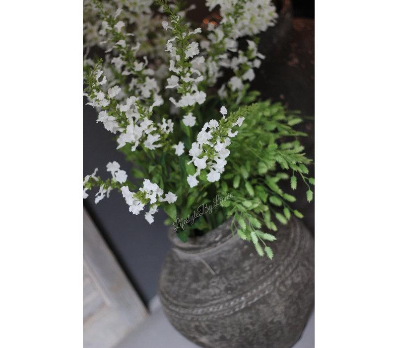 Zijden tak 'Salie' wit 76cm