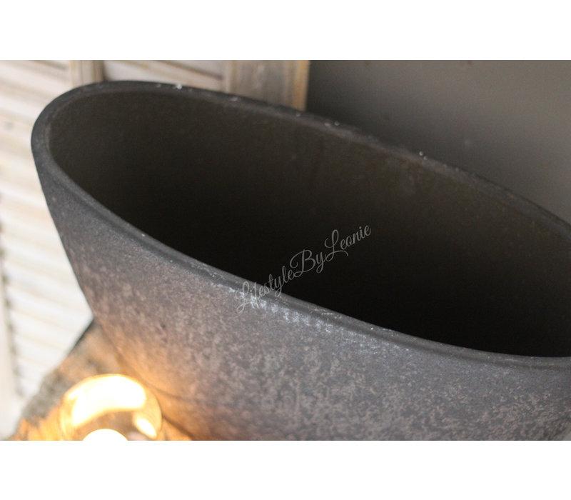 Ovale zwarte pot 44cm
