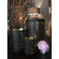 Waxinehouder panter print zwart/goud 18cm
