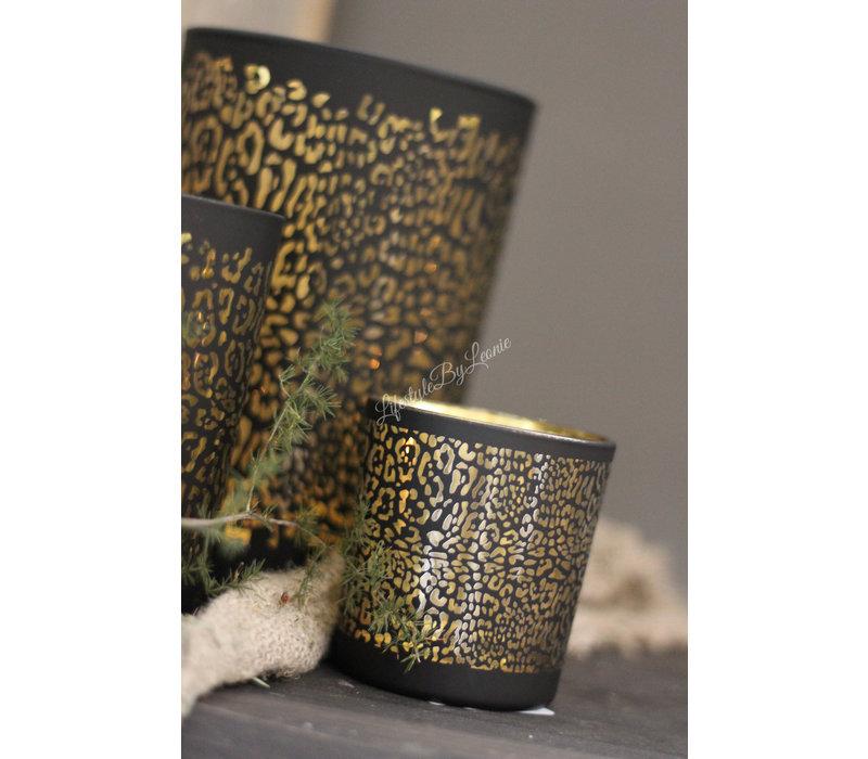 Waxinehouder panter print zwart/goud 8cm