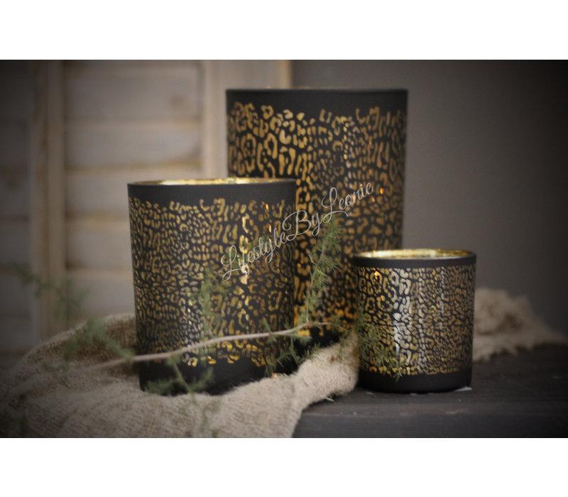 Waxinehouder panter print zwart/goud 12cm