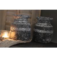 Stenen Nepalees kruikje zwart / grijs 16 cm