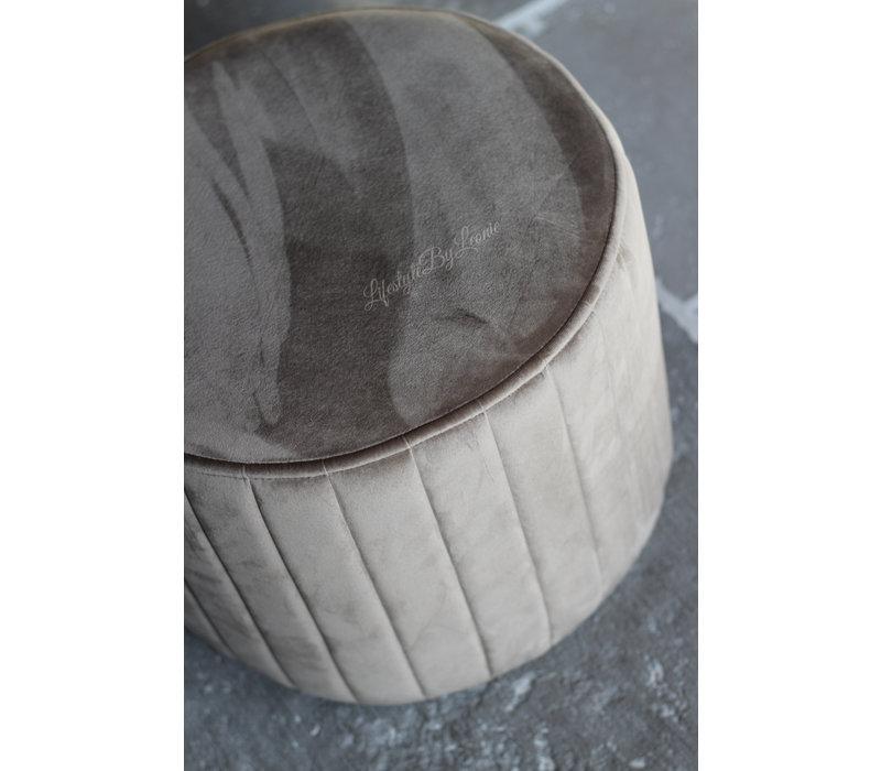 Velvet ronde poef Latte 40 cm
