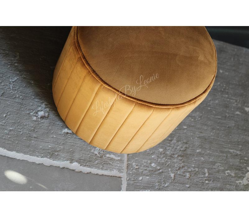 Velvet ronde poef Camel 40 cm