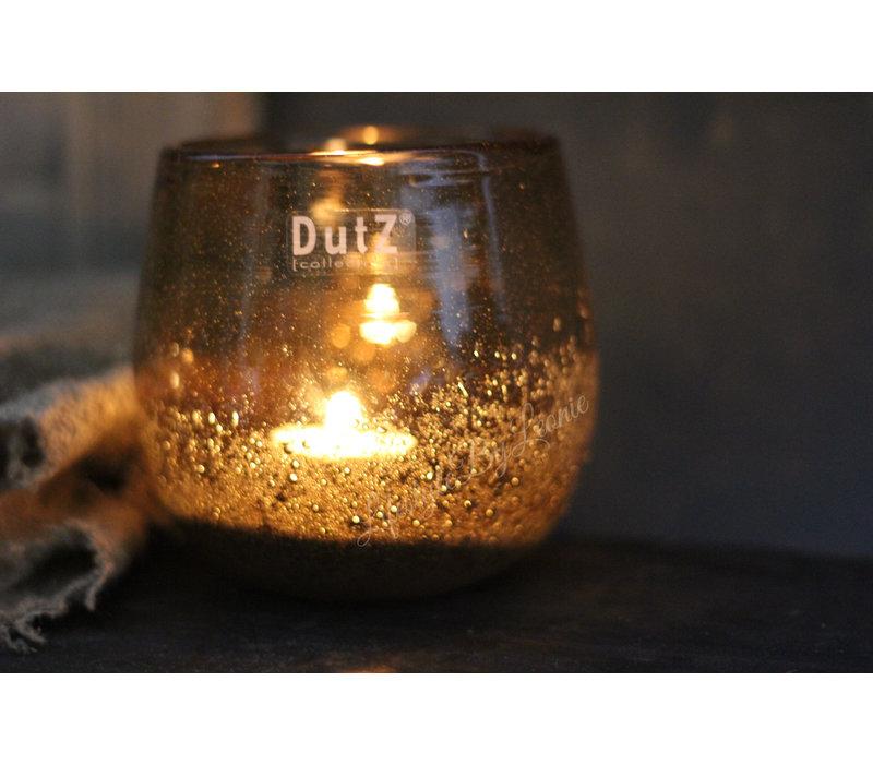 DUTZ round windlicht met bubbels Cognac 12cm