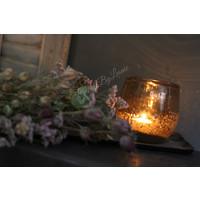 DUTZ round windlicht met bubbels Cognac 12 cm