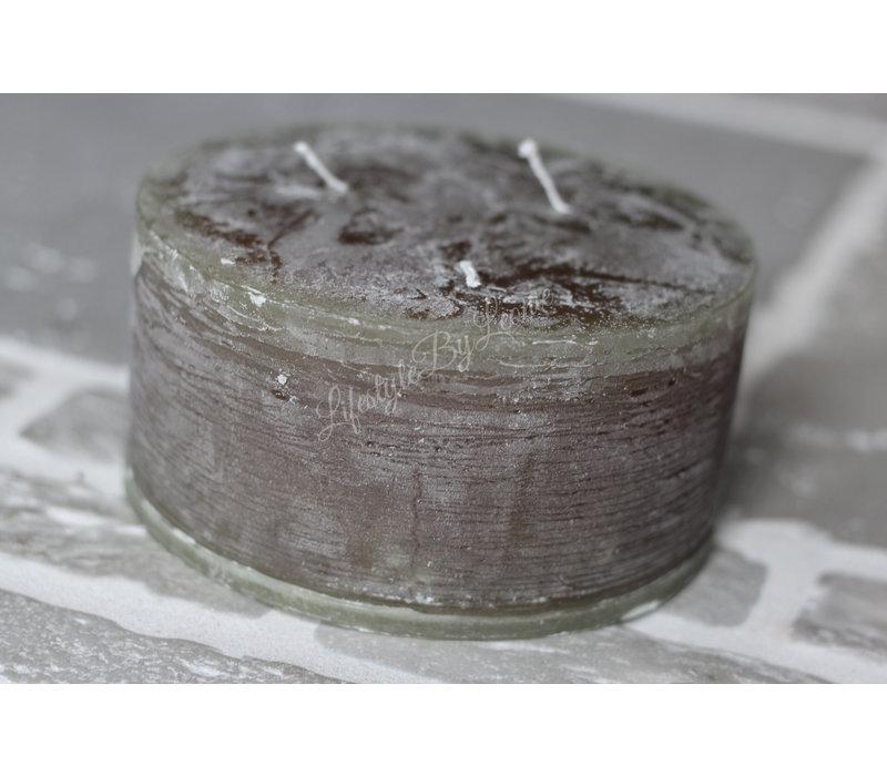 Brede stomp kaars rustic olive 15cm