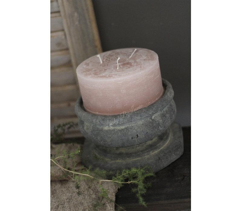 Brede stomp kaars rustic roze 15cm
