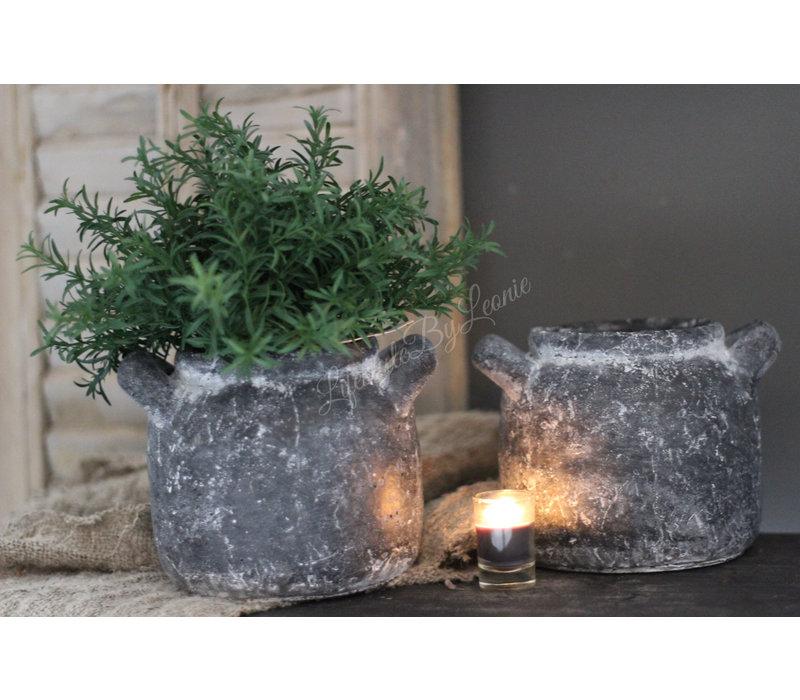 Zwart / grijs stenen pot met oren 15cm