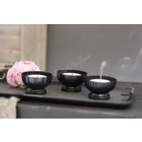 Metalen cup waxinehouder chiq black 6cm