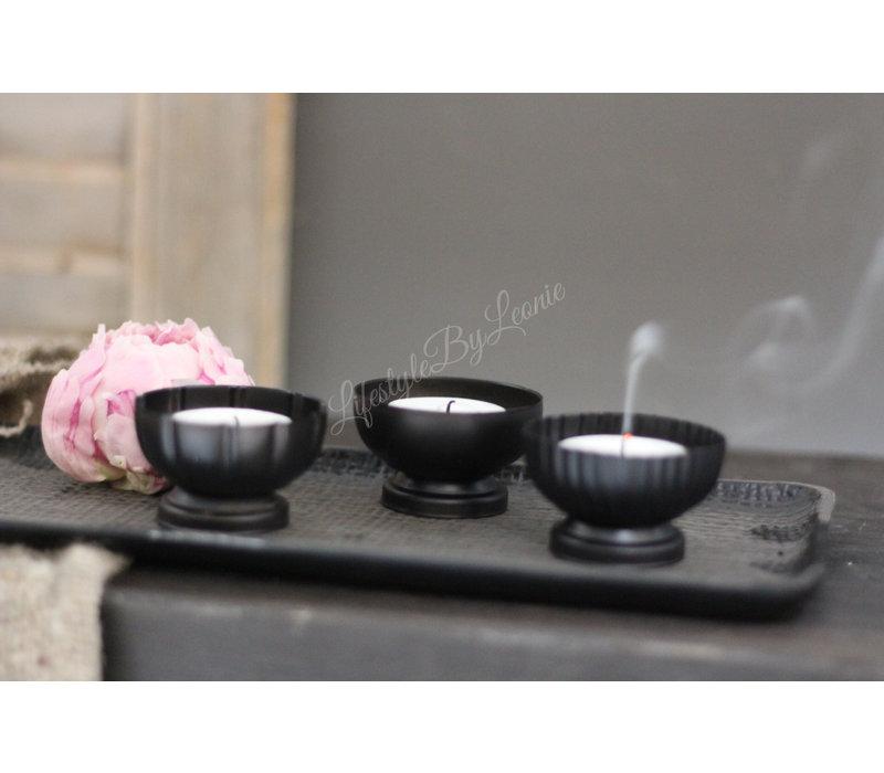Metalen cup waxinelichthouder chiq black 6 cm
