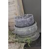 Brede stompkaars rustic black 15cm