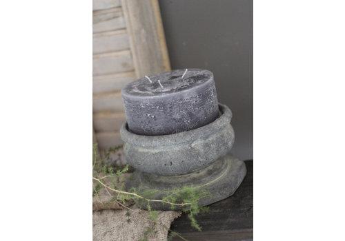 Brede stompkaars rustic black 15 cm